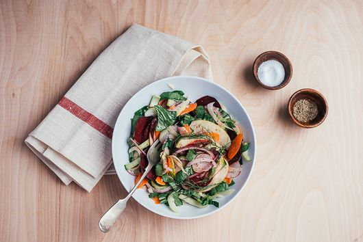 Shaved Vegetable Salad with Apples and Lemony Tahini Dressing