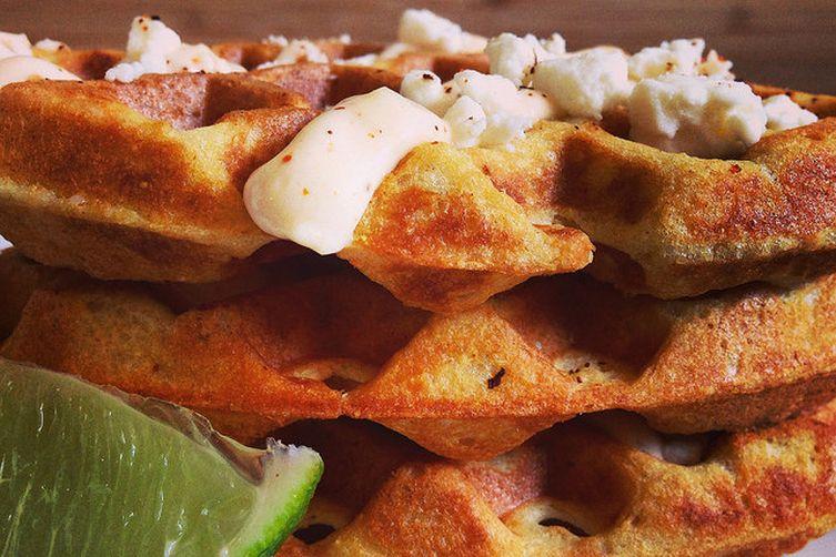 Elote-Style Cornbread Waffles
