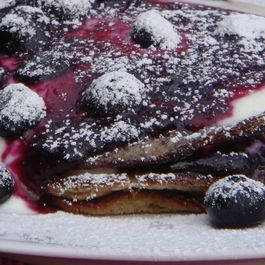 Chestnut Flour and Buttermilk Pancakes with Blueberry Syrup