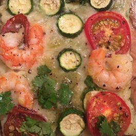 Zucchini, Shrimp & Heirloom Tomato Pizza with Herb Pesto