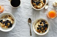 Rice Pudding with Sesame Crumble and Blueberries