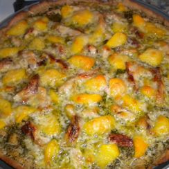 Mint Pesto Pizza with Grilled Chicken, Peaches and Provolone