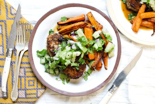 Pork Chops with Roasted Carrots and Tomatillo Salsa