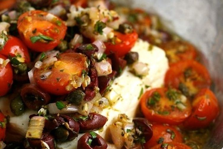 Baked Feta with Mediterranean Tomato Sauce Recipe on Food52