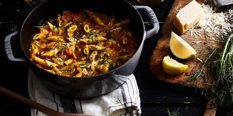Pumpkin, sausage, and fennel get cozy.