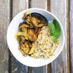 Curried eggplant & sweet onion with quinoa