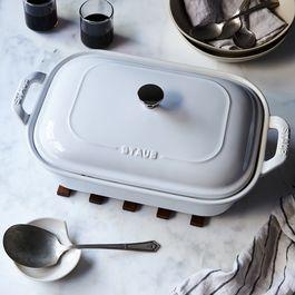Staub White Ceramic Covered Baking Dish, 4QT