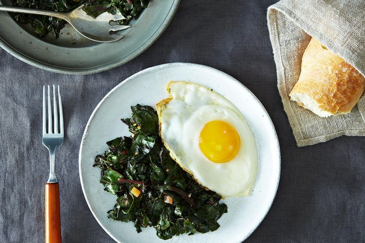Moroccan Beet Green with Fried Eggs