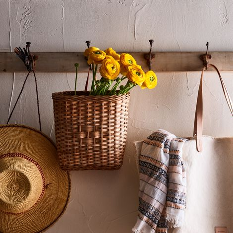 Hanging Rattan Book Basket