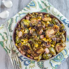 Maple-Glazed Brussels Sprouts with Ham & Corn