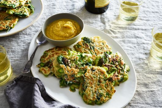 Asparagus & Leek Pancakes with Apple-Miso Mayo
