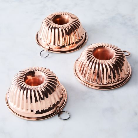 Vintage Copper French Bundt Moulds (Set of 3), Late 19th Century