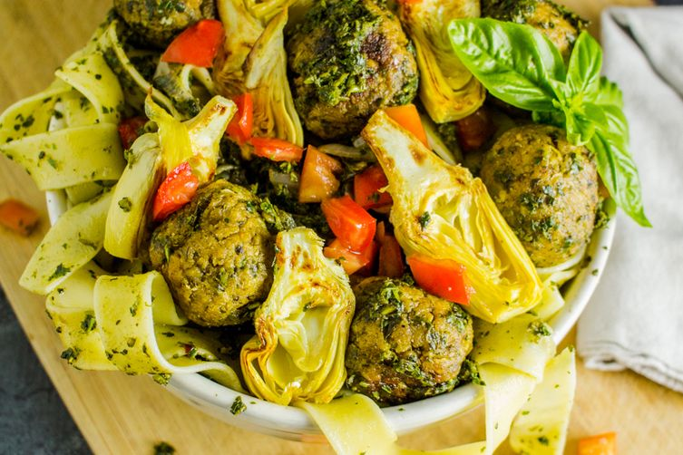 Pappardelle with Artichoke Chickpea Meatballs