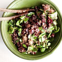 Quinoa, beetroot, goat and lamb's lettuce salad