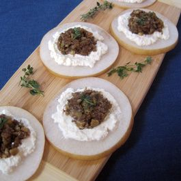 Fig-Walnut Tapenade with Ricotta and Asian Pears