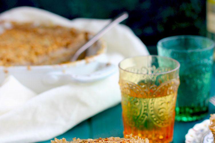 Potato Butternut Squash Au Gratin with Sage Pesto and Toasted Hazelnuts