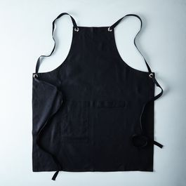 Black Cross-Back Kitchen Apron with Black Ties