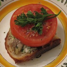 Slice of Summer Tomato Sandwich with Smoked Fish and Basil-Mascarpone
