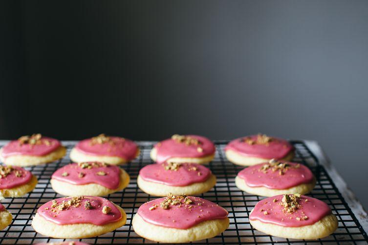 Soft Yogurt Cookies with Raspberry Glaze
