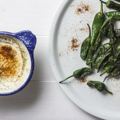 Grilled Padron Peppers with Buttermilk chilli dip