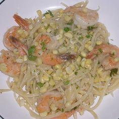 Spaghetti with Corn & Shrimp