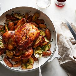 Buttermilk Roast Chicken with Potatoes and Cornichon Butter