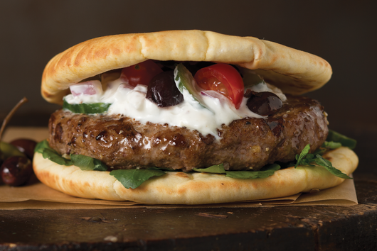 Mediterranean Lamb Burger with Feta Cheese and Tzatziki Sauce