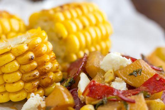 Grilled Corn with Pear Chorizo Salad