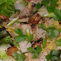 Warm endive and oyster mushroom salad