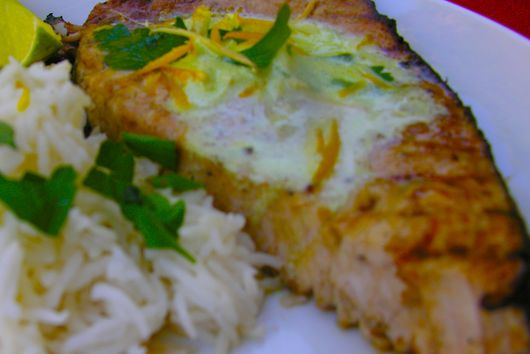 Grilled Ginger Margarita Swordfish with Tequila Lime and Orange Zest Homemade Butter