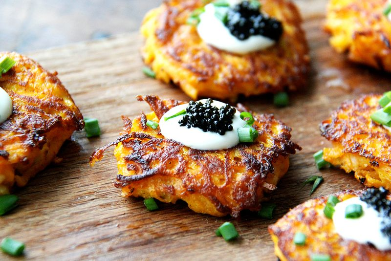 Sweet Potato Pancakes with Caviar and Crème Fraîche