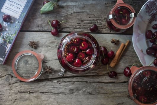 Spiced Cherries Preserved in Grappa