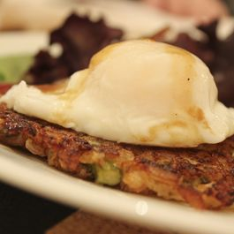 Risotto Cakes with Poached Egg and Balsamic-Dressed Salad