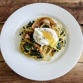 Spaghetti with Lacinato Kale, Pancetta, and Poached Egg