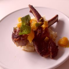 lamb chops with blood orange and mint compote and feta mash potatos