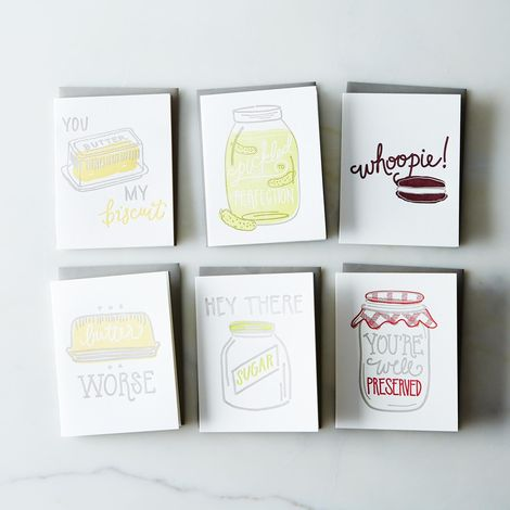 Witty Food Greeting Cards (Set of 6)