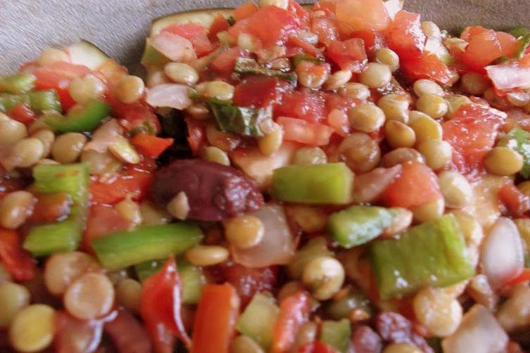 Eggplant-Lentil Stew with Homemade Pomegranate Molasses