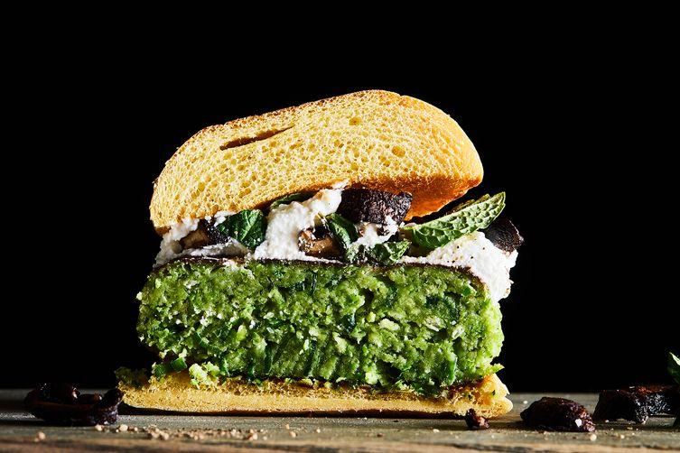 green pea burgers with ricotta crispy mushrooms