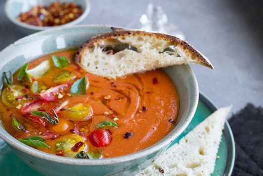 Roasted Tomato Herb Soup with Chili Oil