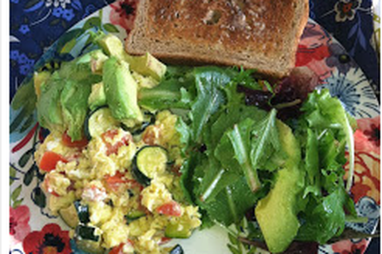 Egg Scramble with Zucchini and Goat Cheese