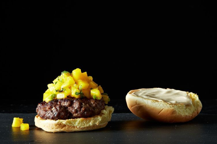 Glazed Five Spice Burger with Gingery Mangoes