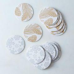 Gold & Silver Letterpress Coasters (Set of 16)