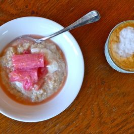 Breakfast Oats with Roasted Spiced Rhubarb and Greek Yoghurt