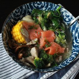 Bf5800c7 ee20 4534 b748 273fc83126bf  spring soup with salmon mushrooms broccoli spinach corn in whirl of inspiration