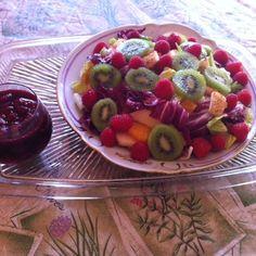 Colorful and Healthful Salad with Raspberry Vinaigrette.