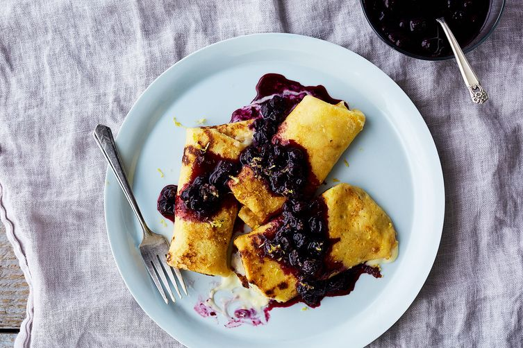 Mascarpone Blintzes with Blueberry and Lemon