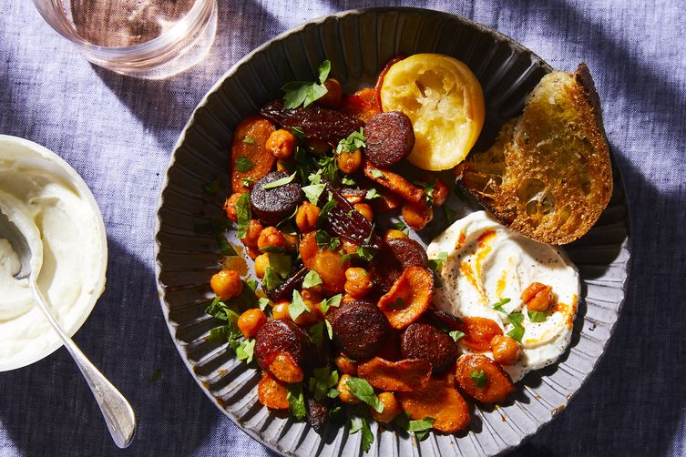 Honey & Smoked Paprika Roasted Carrots with Chorizo, Chickpeas, and Dates
