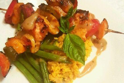 Saucy Mama Tarragon & Lemon Mustard Salmon Rainbow Kabobs with Fresh Green Beans