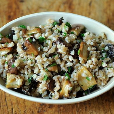 Farro Salad with Roasted Mushrooms and Parmesan