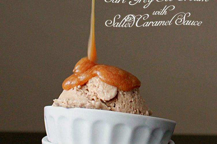 Earl grey ice cream with salted caramel sauce